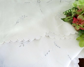 Small Vintage Tablecloth, Luncheon or Tea Cloth, Madeira Embroidery, White Linen with Pale Blue Embroidery, 34 x 33.5, Vintage Linens