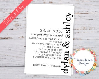 Typography Printable Wedding Invitation