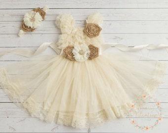 lace flower girl dress, rustic flower dress,lace girls dress, country flower girl dress, burlap flower girl dress,Ivory flower girl dress