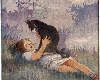 Touching Illustration of  a Beloved Returned Cat and Her Little Girl. Vintage Illustration. Cat Digital Download. Honor Appleton