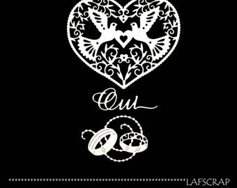 Scrapbooking scrap doves flower heart cutouts animal word Yes wedding die cut paper cut