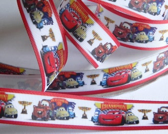 """Cars Grosgrain Ribbon 5 yards of 7/8"""" Lightning McQueen Tow Mater & Friends Red and White Hair Bows Boys Race car Birthday Party Favor Ties"""