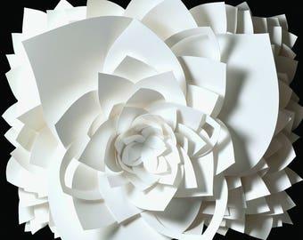 "14x14"" Lotus White and Black Flower Fine Art Photo Print, paper sculpture"