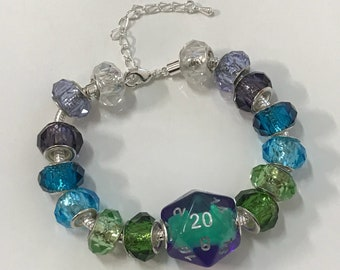 D20 dice bracelet dungeons and dragons dice rainbow dice D20 pathfinder dice bracelet dungeon master dnd girl tabletop rpg stranger things
