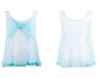 Tiffany Turquoise Mesh Ruffled Babydoll with Giant Bow, very 60s pinup girl, vintage style, Great Gift for your Mother