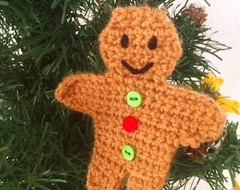 Handmade Crochet Gingerbreadman Knitted Christmas Tree Decoration