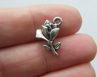 10 Rose charms tibetan silver F32