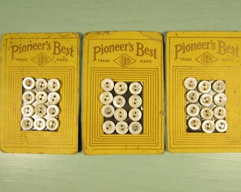MOP Sewing Buttons - Vintage Pioneer's Best on Original Yellow Sales Card