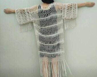 Fringe Crochet Kimono Cardigan