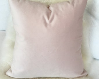 Blush Pink Velvet Throw Pillow w/ Brass Zipper - feminine throw pillow, baby girl nursery decor