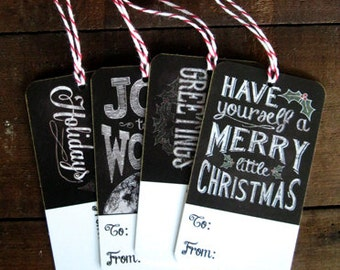 Chalkboard Christmas Tags for Gift Wrapping - set of 12 - chalk art