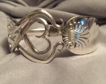 Single Fork Cuff Bracelet - Captured Heart