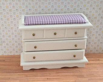 Miniature One Inch Scale Purple check Changing Chest for the dollhouse nursery