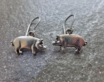 Silver Pig Earrings With Hypoallergenic Titanium, Niobium OR Sterling Silver Ear Wires - Boho - Wildlife - Animal