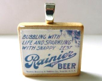 Rainier Beer - vintage advertising Scrabble tile pendant
