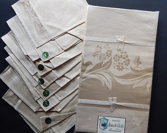 """58"""" x 100"""" La Fleur Damask Cloth Beige Tablecloth + 8 Napkins A-1345 Japan RN-27195"""