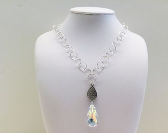 Sterling Silver Drop Crystal Pendant Necklace