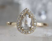 Natural Silver-Grey Rose Cut Diamond Ring with Pavé Halo