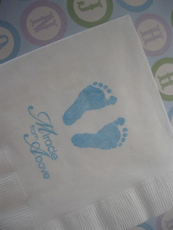 50 Baby Feet Paper Napkins Baptism Decorations Baby Girl