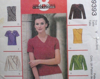 McCall's 9393 Sewing Pattern -  Woman's Stretch Knit Tops - Sizes XSmall (4-6), Small (8-10), Bust 30 1/2 - 32 1/2