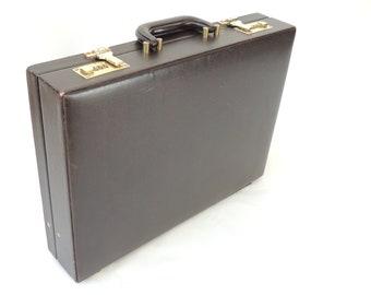 Vintage Brown Briefcase, attache case, portfolio, laptop carrier, ipad carrier, 1970's briefcase, heritage, combo lock briefcase