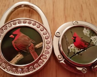 Cardinal 4 Styles Purse Hook Folding Handbag Hanger Stocking Holder Personalized Gifts Table Bar Desk Charm Ladies Cardinals Bird Birds Gift