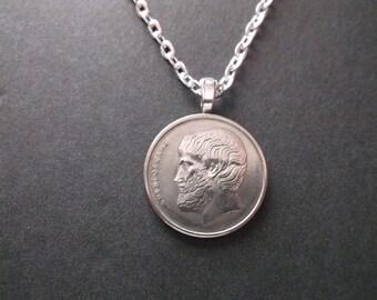 Greek 5 Apaxme Coin Pendant   - Greece Coin Necklace -  5 Apaxme Greek Coin
