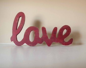 Love Wood Sign Custom Made Home Decor, Valentines Decor, Love wood word, wedding decor, gallery wall