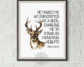 Psalm 18:33 Printable Bible verse Scripture print, rustic decor, deer print, He makes me as surefooted as a deer wall art print Christian