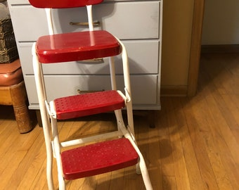 Vintage Cosco Step Stool Metal Chair 1950s Retro Mid-Century Ladder Chair