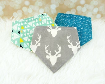 3 Baby Bandana Bibs (Aqua Triangles, Grey Deer, Teal Arrows) ||| bibdana, drool bib, dribble bib, special needs bib, baby shower gift