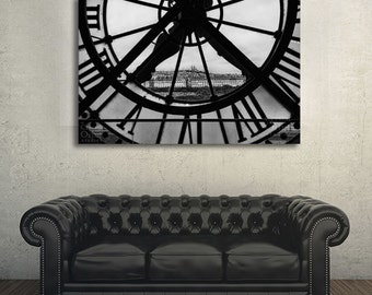 Paris Canvas Art, Orsay Museum clock, Black and White Fine Art Photography, Large Wall Art, Bedroom Wall Art, Paris Wall Decor