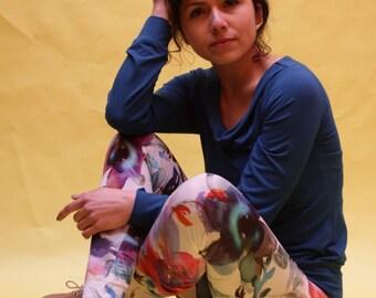 Yoga leggings, yoga trousers, patterned legging, print legging, legging, floral legging, Flower legging, women's cotton leggings, flower trousers