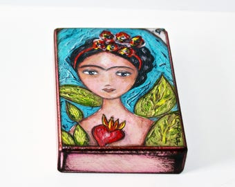 Frida- I Love You More Than Myself- Te Quiero más Que a Mi Misma - Aceo Giclee print mounted on Wood (2.5 x 3.5 inches)  by FLOR LARIOS