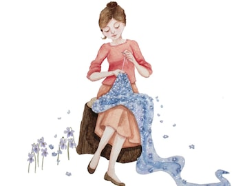 Valentines art for her, Embroidery illustration, Gift for dressmaker, Sewing illustration, Dressmaking Illustration, valentines gift for her