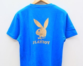 Vintage PLAYBOY Bunny Big Logo Streetswear Blue Tee T Shirt Size XL