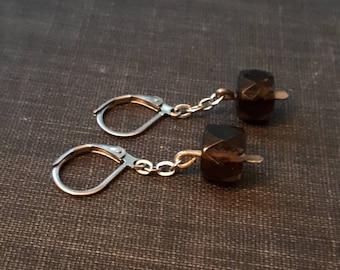 smoky quartz earrings, gemstone earrings, crystal earrings, healing crystal, healing gemstone, edgy crystal jewelry, modern crystal earrings
