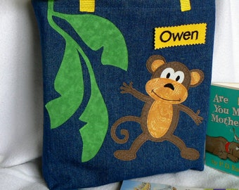 Kids Tote Bag|Monkey Tote Bag|Gift For Niece|Personalized Tote Bag|Gift For Nephew|Library Book Bag|Preschool Tote Bag|Gift for Grandchild