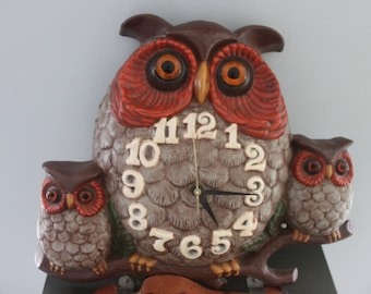 Vintage owl clock - ceramic - wall clock -electric wall clock 1970s vintage owl clock, kitchen clock, owl decor