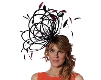 Black and Burgundy Large Feather Fascinator Hat - Perfect for a Mother of The Bride, ladies day - choose any colour feathers and satin