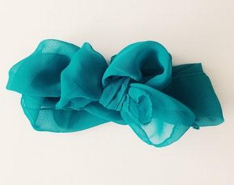 Vintage scarf [ sheer teal ]