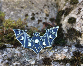 Enamel Moon Phase Bat Pin, Bat Pin, Moon Phase Pin