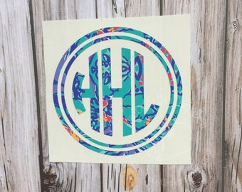 Lilly Pulitzer Inspired Invert Double Circle Monogram Decal | Yeti Decal | Lilly Monogram Decal | Monogram Decal | Rtic Decal | Car Decal