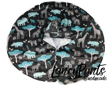 Ready to Ship Slate Safari soft cuddle minky fleece car seat poncho - winter kids children's poncho -infant poncho - toddler poncho
