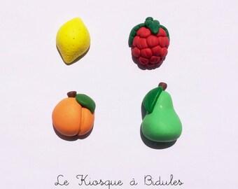 Lot de 4 aimants magnétiques en fimo fruit
