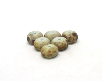Set 6 Lava Rondelle Beads, 12 mm, Dirty Martini Raku Multi Colour Frit, Textured Etched Handmade Lampwork Glass Donut Beads, CIM 448