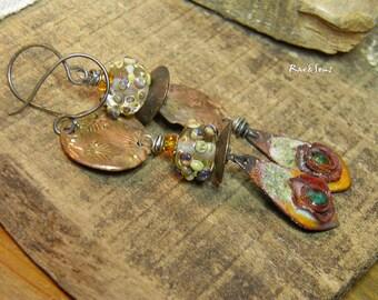 Rustic Earrings-Tribal Style-Bohemian Look-Nomadic Earrings-Vintage Look-Pearl Spun Pearl-Enamelled Pendant-Orange-Green Emerald-Bronze