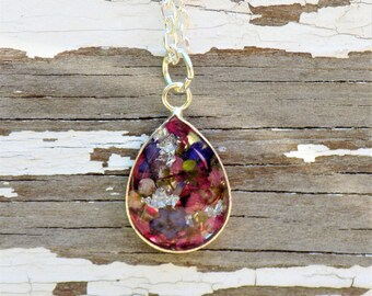 Flower Resin Charm Necklace with Silver Leaf,  teardrop pendant, women accessories, boho, bohemian, real flower jewelry, silver necklace