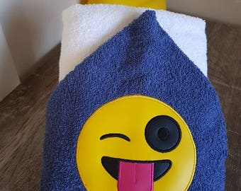 Hooded Towel, Silly face design. Can also be personalised.