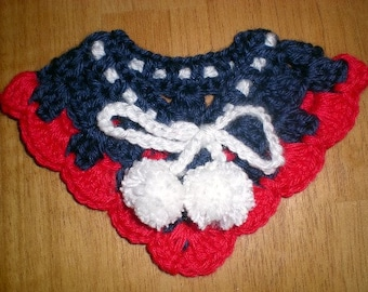 XXS Dog Collar Red, White and Blue